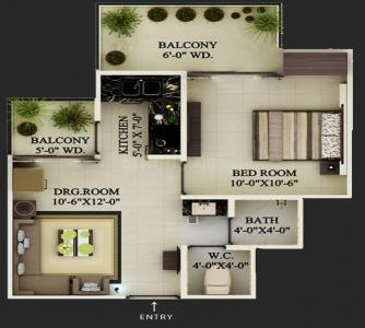 Gallery Cover Image of 592 Sq.ft 1 BHK Apartment for buy in Supertech Eco Village 1, Noida Extension for 1900000