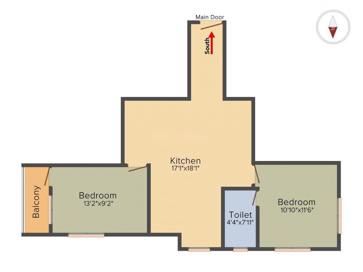 Floor Plan Image of 817 Sq.ft 2 BHK Apartment for buy in Mourigram for 2328450