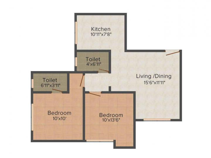 Floor Plan Image of 650 Sq.ft 1 BHK Apartment for rent in Malad West for 25000