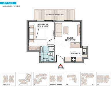 Floor Plan Image of 709 Sq.ft 1 BHK Apartment for buy in CHD Y Suites, Bhondsi for 4500000
