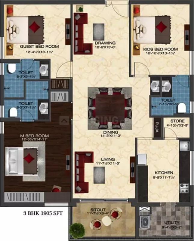 Floor Plan Image of 1905 Sq.ft 3 BHK Apartment for rent in Khaja Guda for 35000
