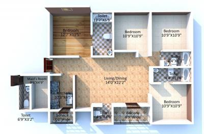 Floor Plan Image of 1987 Sq.ft 4 BHK Apartment for buy in Keventer The North, Kashipur for 11100000