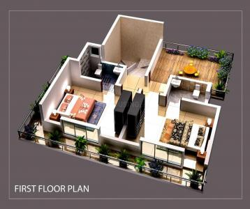 Floor Plan Image of 2100 Sq.ft 3 BHK Villa for buy in RCL Ten Square, Virar West for 6300000