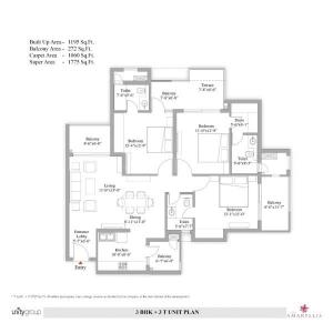 Gallery Cover Image of 1017 Sq.ft 3 BHK Apartment for buy in The Amaryllis, Karol Bagh for 25000000