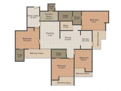 Gallery Cover Image of 2275 Sq.ft 4 BHK Apartment for buy in Supertech Ecociti, Sector 137 for 12000000