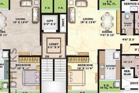 Floor Plan Image of 1454 Sq.ft 3 BHK Apartment for rent in Mulund East for 48000