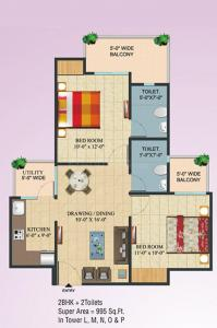 Gallery Cover Image of 995 Sq.ft 2 BHK Apartment for buy in Ajnara Integrity, Raj Nagar Extension for 3250000