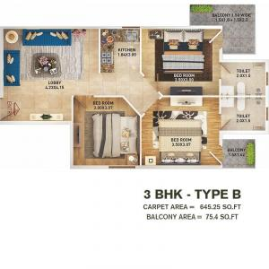 Gallery Cover Image of 800 Sq.ft 1 BHK Apartment for buy in Pyramid Altia, Sector 70A for 1500000