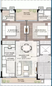 Gallery Cover Image of 1105 Sq.ft 2 BHK Independent Floor for buy in Sector 89 for 7500000