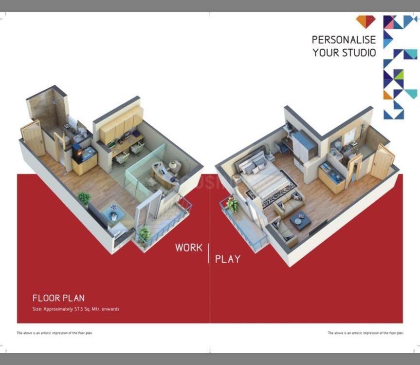 Floor Plan Image of 627 Sq.ft Studio Apartment for buy in Gomti Nagar for 6000000