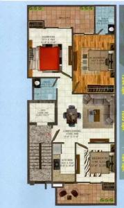 Floor Plan Image of 1244 Sq.ft 3 BHK Independent Floor for buy in Amolik Residency Apartment, Sector 86 for 5100000