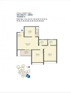 Gallery Cover Image of 863 Sq.ft 2 BHK Apartment for buy in VTP Sierra, Sus for 6900000