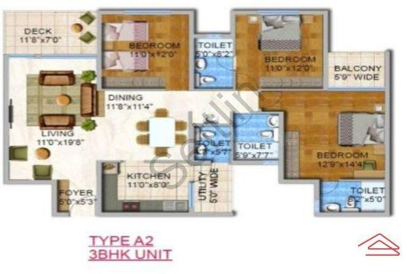 Floor Plan Image of 1700 Sq.ft 3 BHK Apartment for buy in Whitefield for 10900000