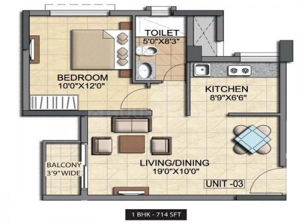 Floor Plan Image of 655 Sq.ft 1 BHK Apartment for buy in Kudlu Gate for 4600000