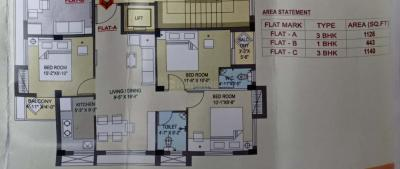 Gallery Cover Image of 1140 Sq.ft 3 BHK Apartment for buy in Haltu for 6200000