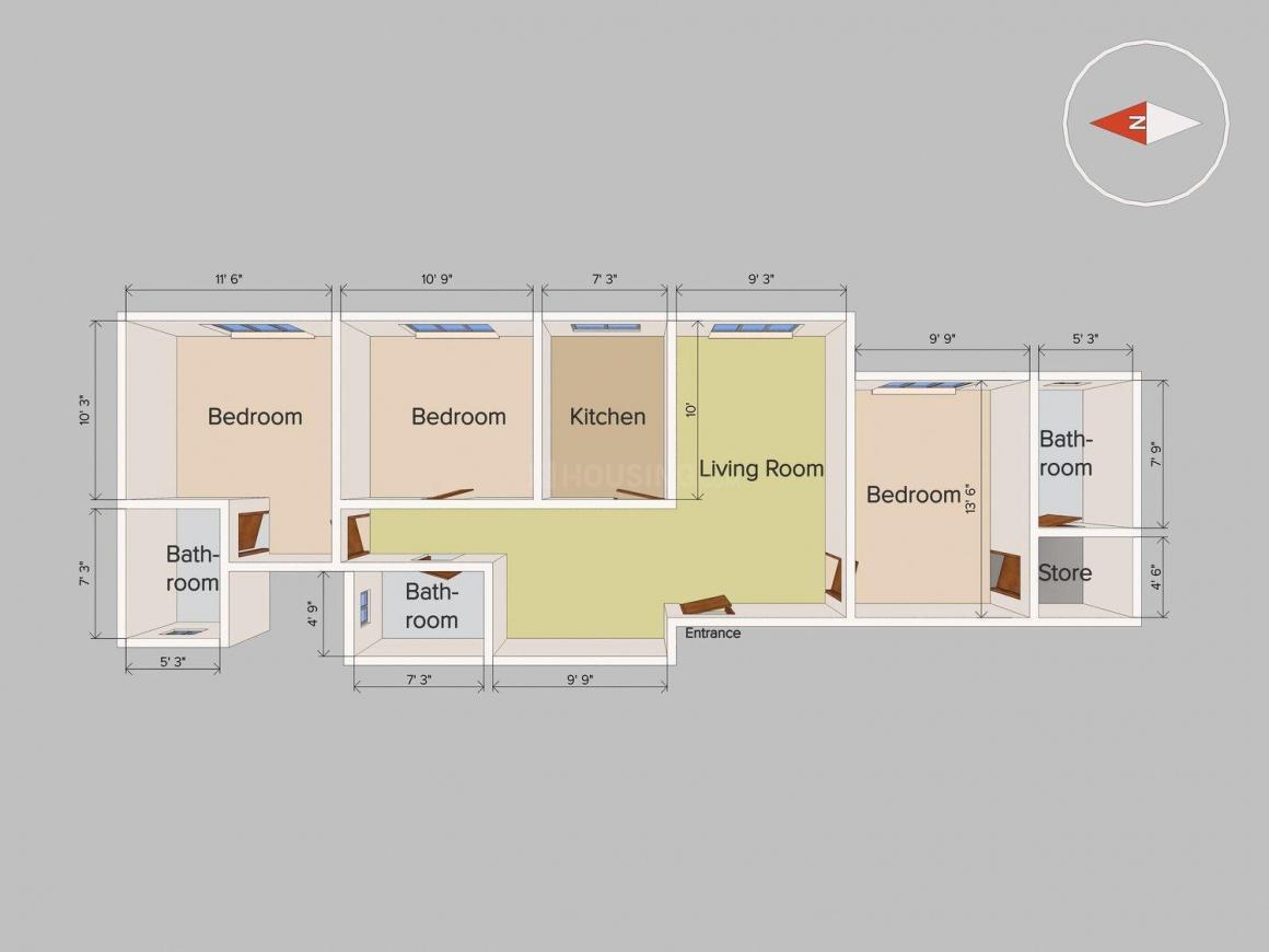 Floor Plan Image of 1250 Sq.ft 3 BHK Apartment for buy in Goregaon East for 7800000
