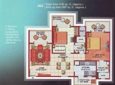 Gallery Cover Image of 1230 Sq.ft 2 BHK Apartment for buy in Mahagun Mascot, Crossings Republik for 3200000