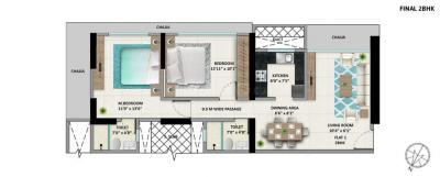 Gallery Cover Image of 1037 Sq.ft 2 BHK Apartment for buy in Wadala for 24300000