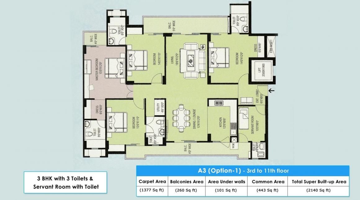 Floor Plan Image of 2140 Sq.ft 3 BHK Apartment for buy in Gomti Nagar for 12500000