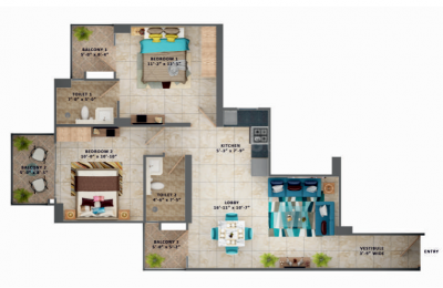 Gallery Cover Image of 705 Sq.ft 2 BHK Apartment for buy in Sector 106 for 2514000