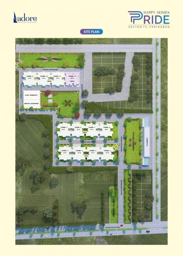 Floor Plan Image of 1050 Sq.ft 3 BHK Apartment for buy in Sector 75 for 2630000