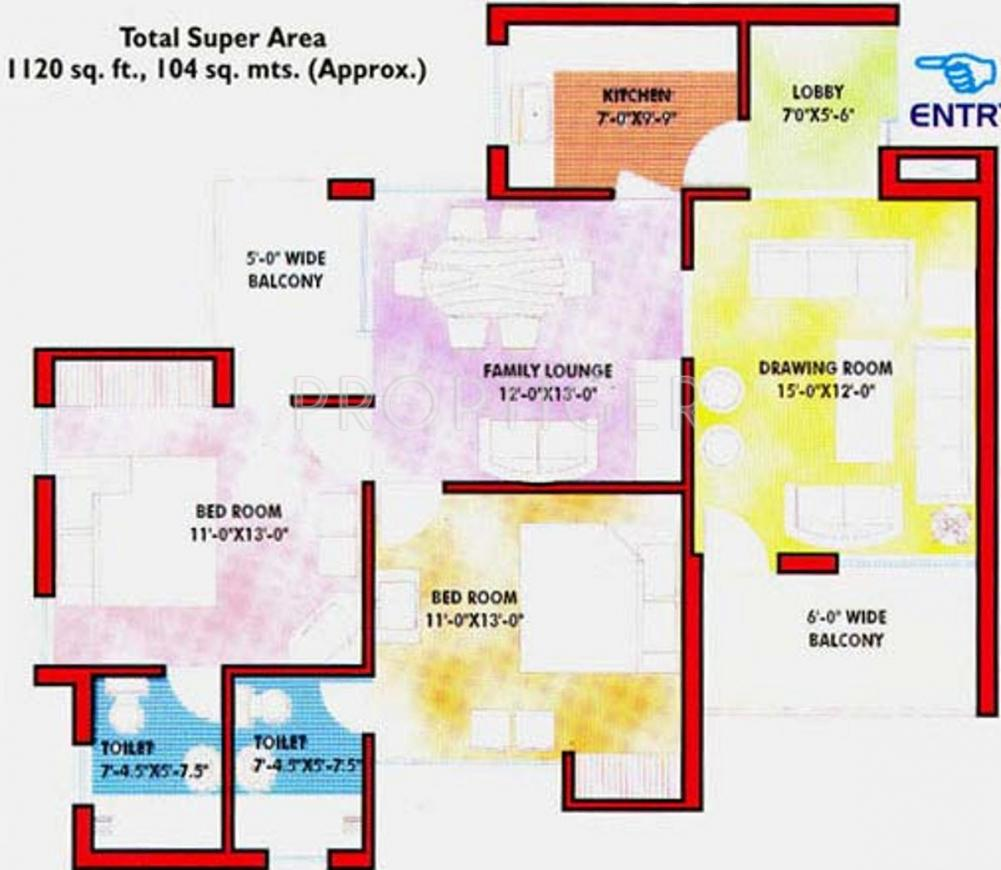 Greater Kanishka Towers Floor Plan: 2 BHK Unit with Built up area of 1120 sq.ft 1