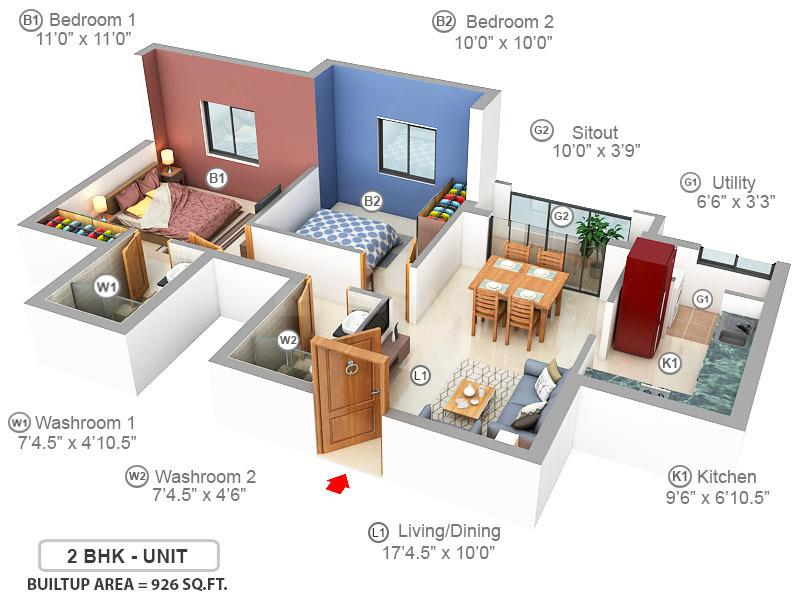 VGN Expanza Floor Plan: 2 BHK Unit with Built up area of 926 sq.ft 1