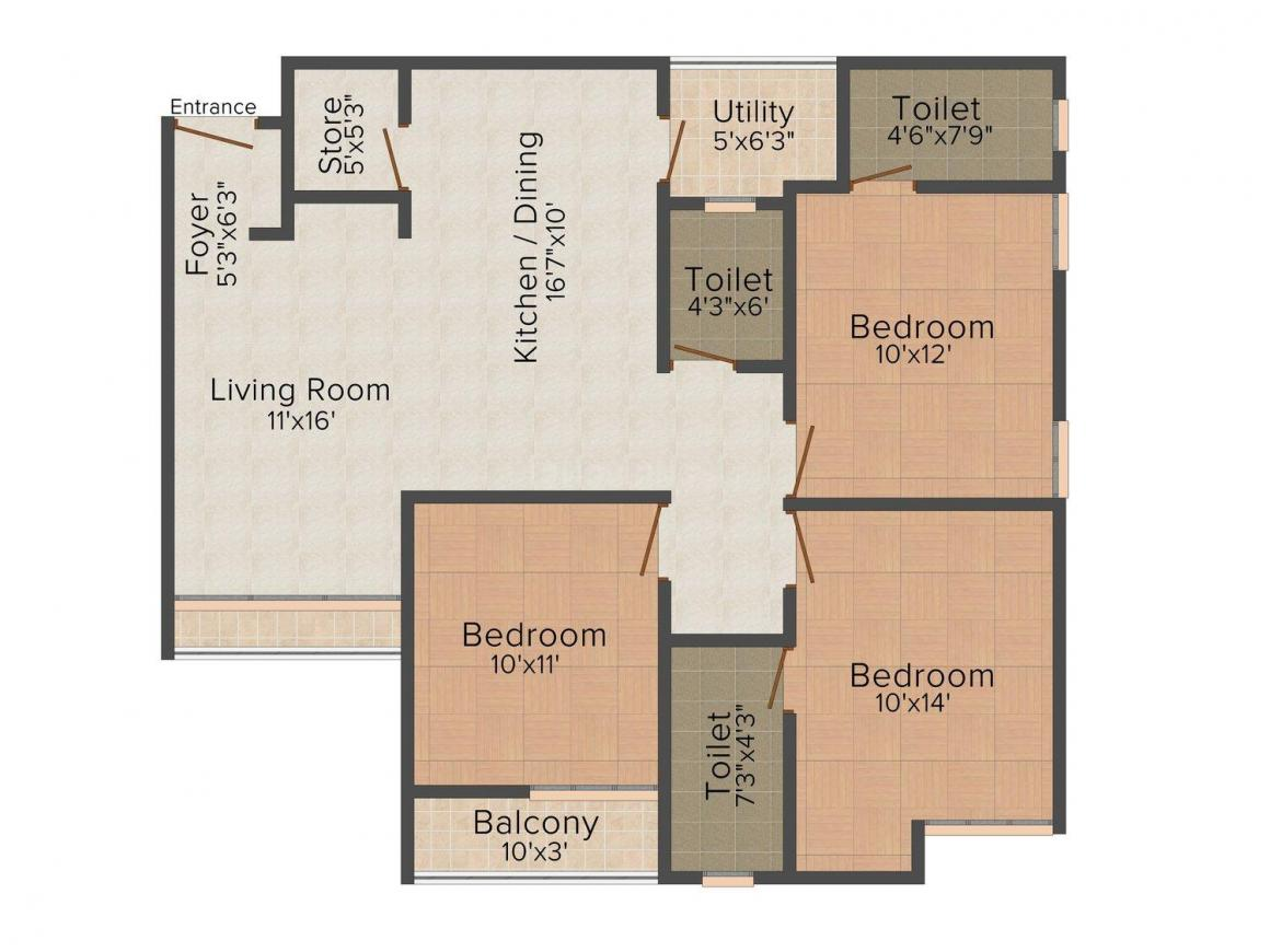 Floor Plan Image of 0 - 1165.0 Sq.ft 3 BHK Apartment for buy in Bhumi Preet Avenue