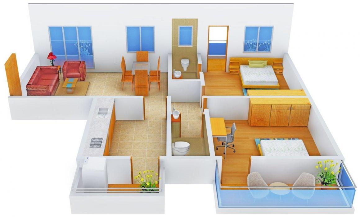 Floor Plan Image of 1130.0 - 1420.0 Sq.ft 2 BHK Apartment for buy in Micon Legacy