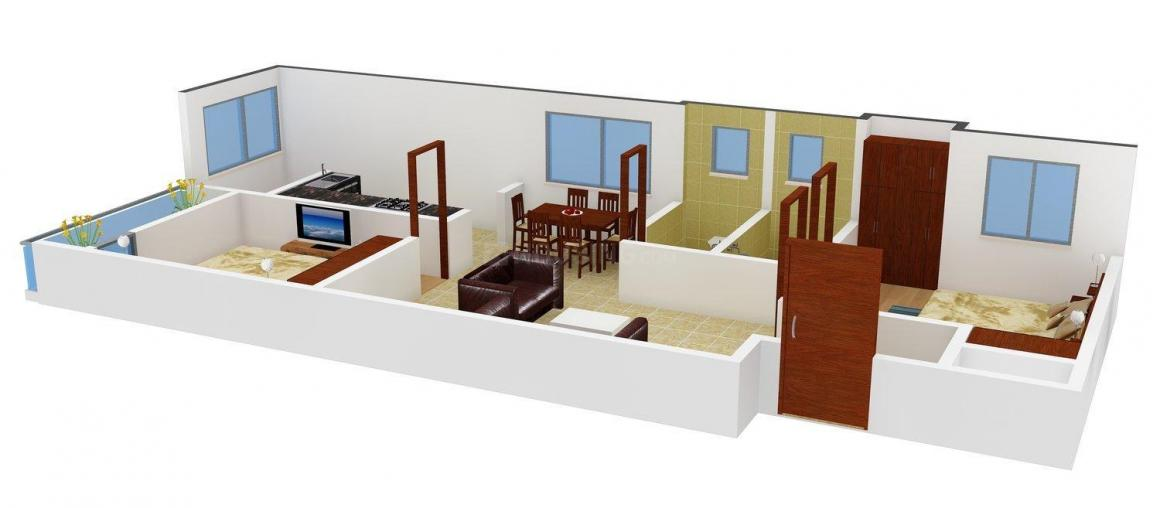 Floor Plan Image of 0 - 853 Sq.ft 2 BHK Apartment for buy in MS Charan MM Cascade Phase - II