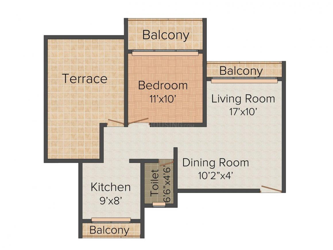 Floor Plan Image of 640 - 1010 Sq.ft 1 BHK Apartment for buy in Highlife Residency