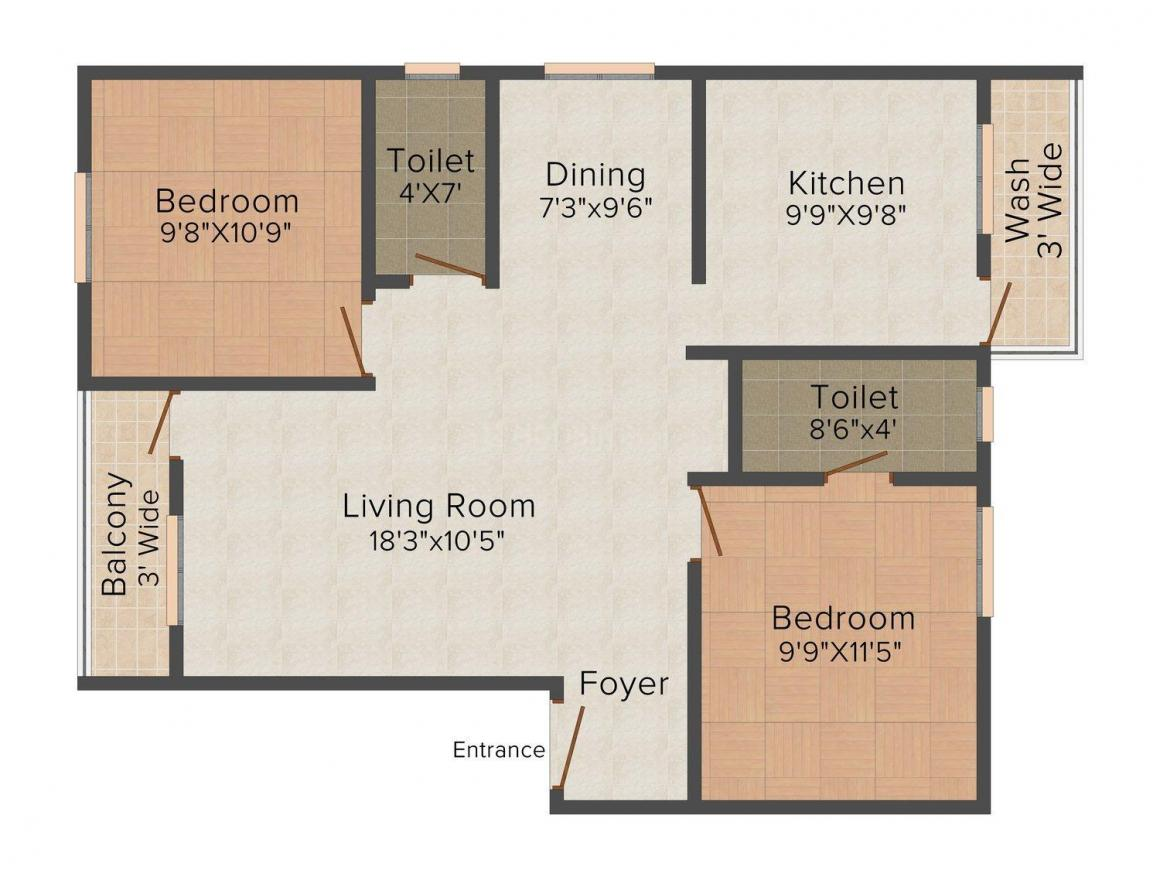 Floor Plan Image of 860.0 - 1108.0 Sq.ft 2 BHK Apartment for buy in Vettri Familia