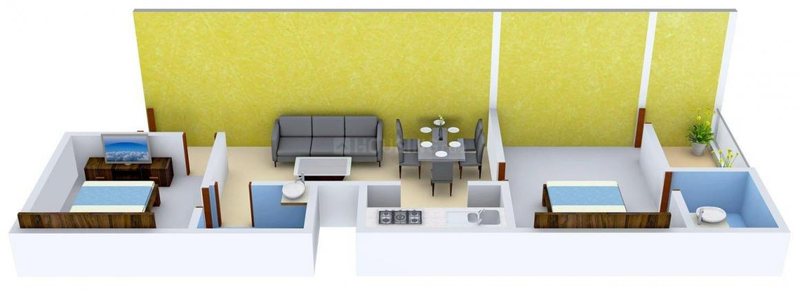 Floor Plan Image of 0 - 800 Sq.ft 2 BHK Apartment for buy in Pie Madhyam Awas Vikas Yojna