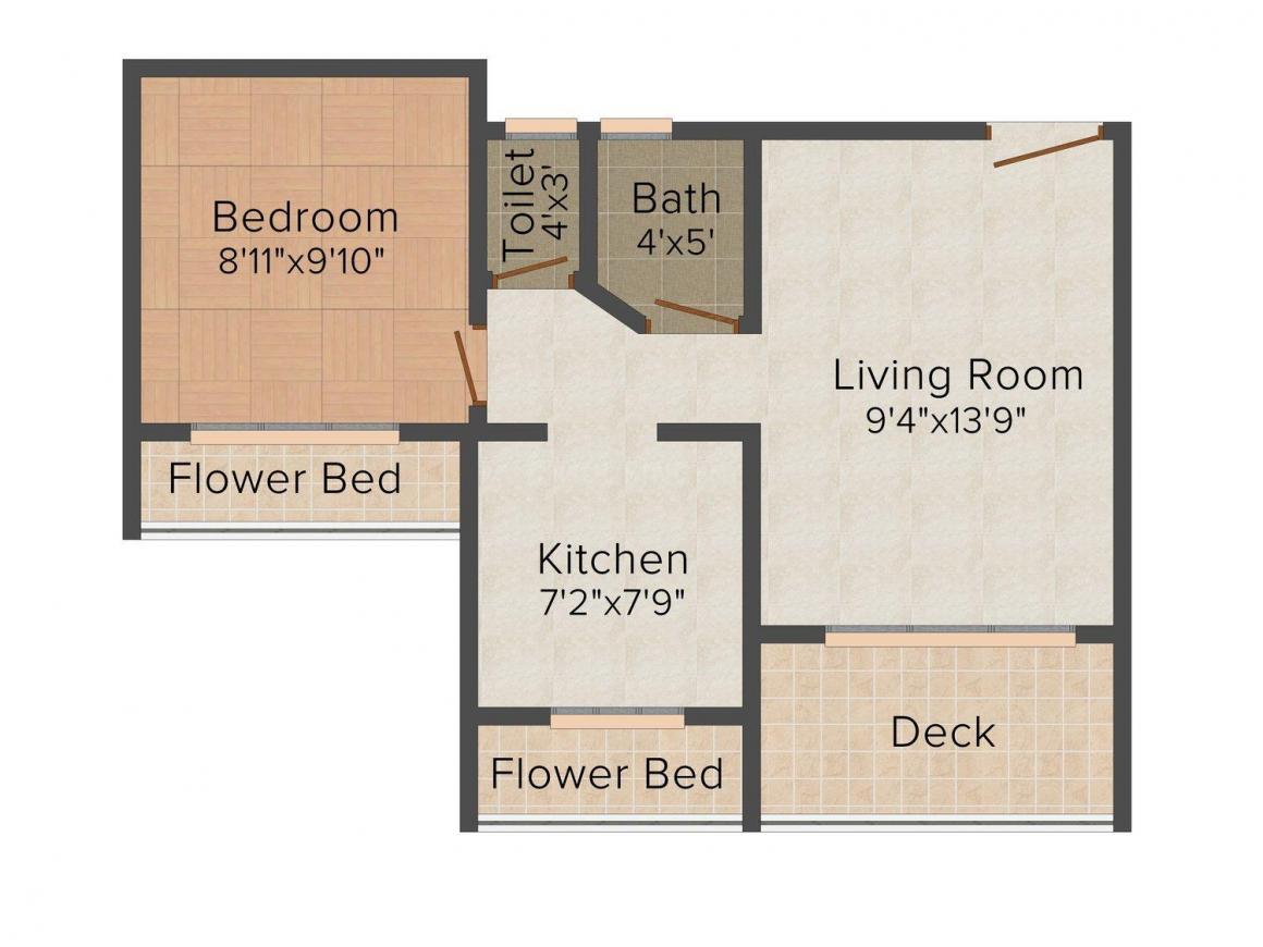 Floor Plan Image of 0 - 650.0 Sq.ft 1 BHK Apartment for buy in Metro Laxmi Complex
