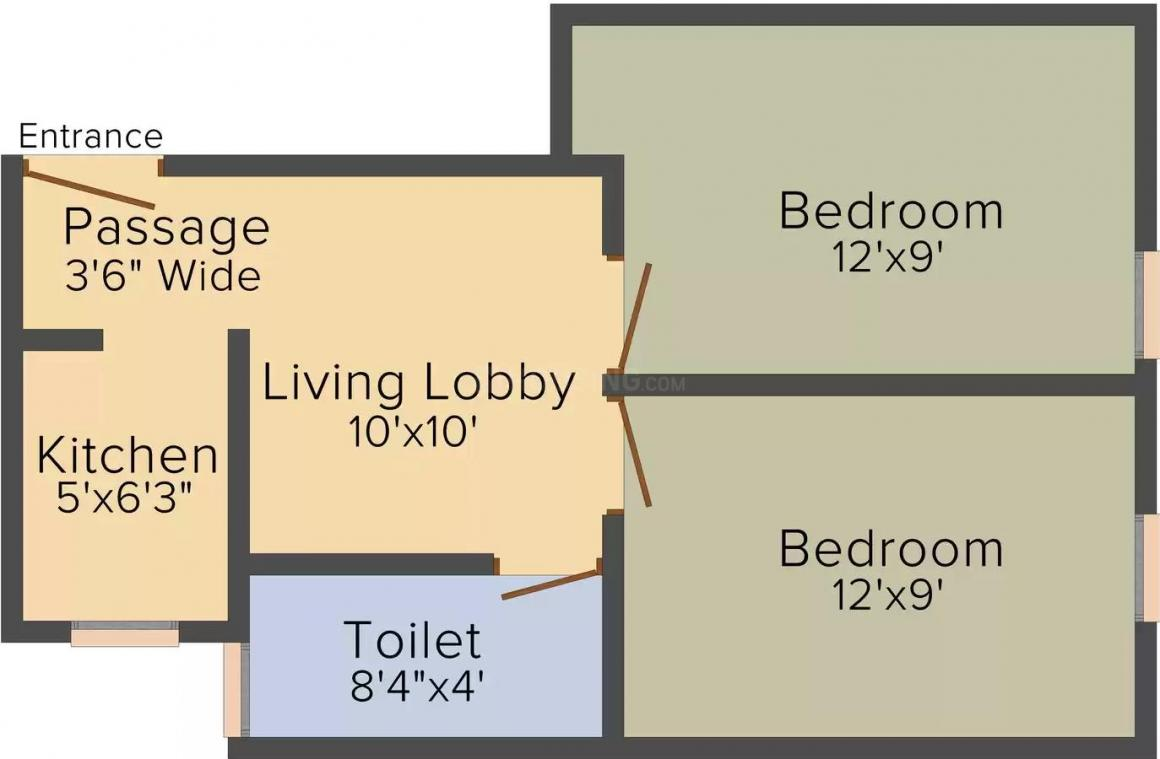 R J Builders Pvt Ltd Homes Floor Plan: 2 BHK Unit with Built up area of 460 sq.ft 1