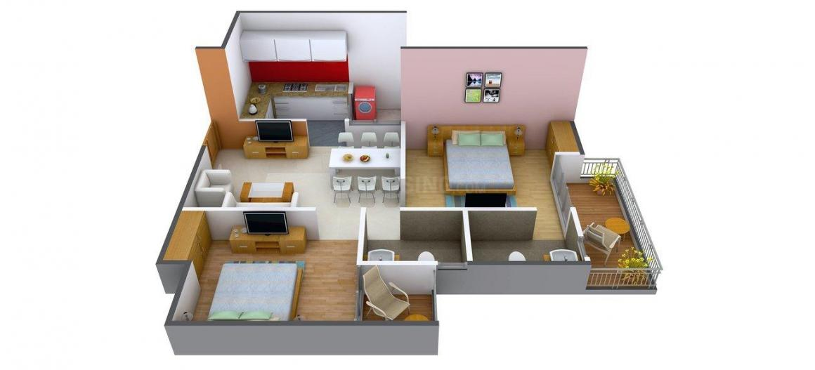 Floor Plan Image of 1000.0 - 1535.0 Sq.ft 2 BHK Apartment for buy in Antriksh Abril Green