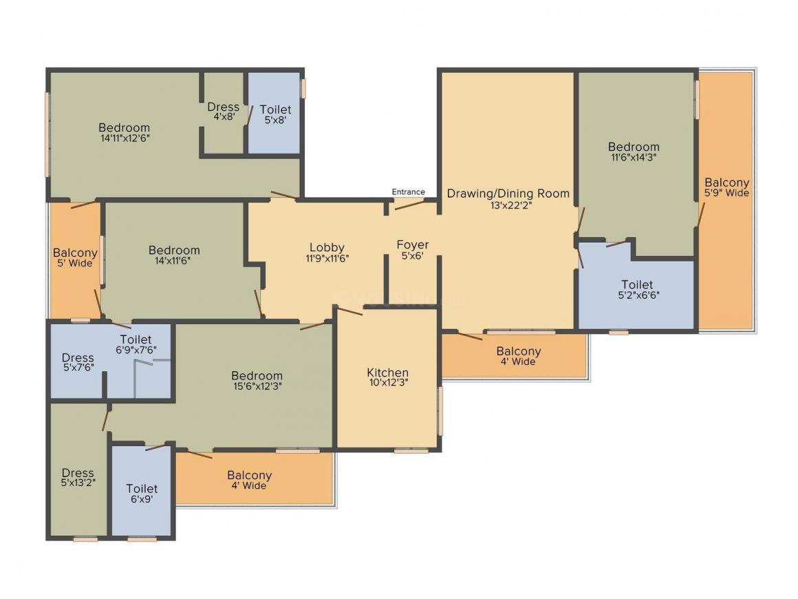 Whitehousz Floors 3 Floor Plan: 4 BHK Unit with Built up area of 2000 sq.ft 1