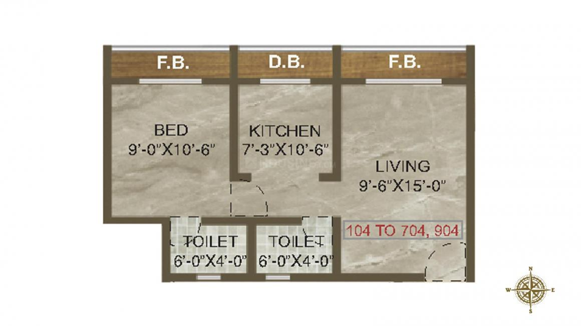 Meera Avenue Floor Plan: 1 BHK Unit with Built up area of 342 sq.ft 1