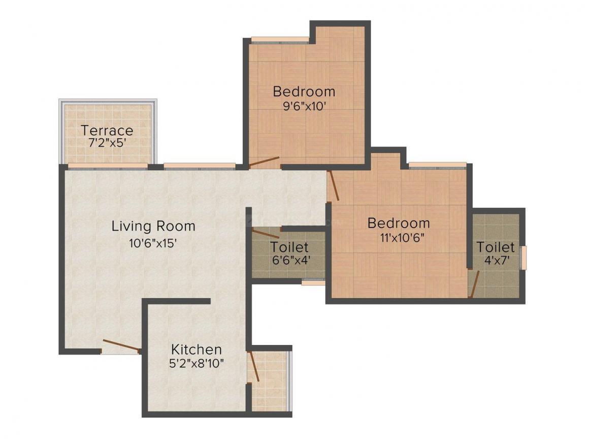Floor Plan Image of 626 - 1111 Sq.ft 2 BHK Apartment for buy in Pacific Prabhu Atlantis