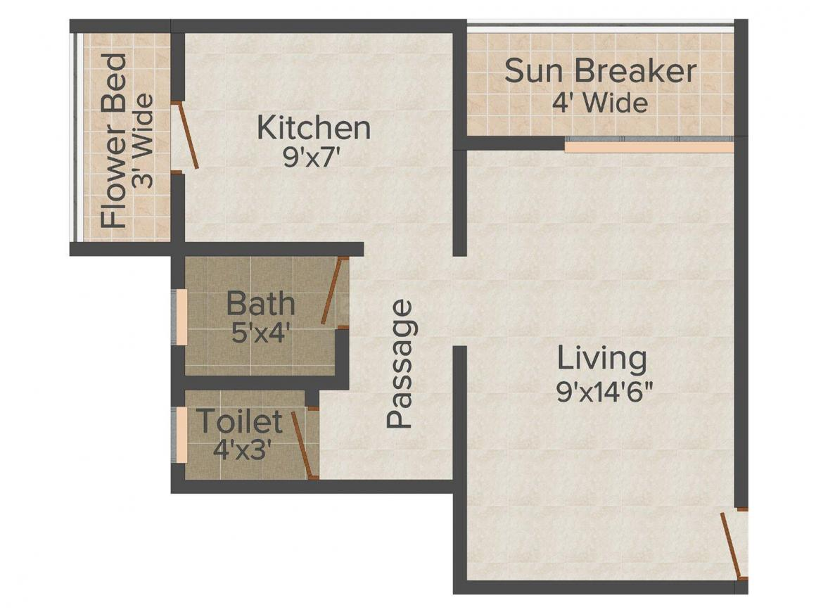 Floor Plan Image of 352 - 980 Sq.ft 1 RK Apartment for buy in Reality Moves Sharmila Residency
