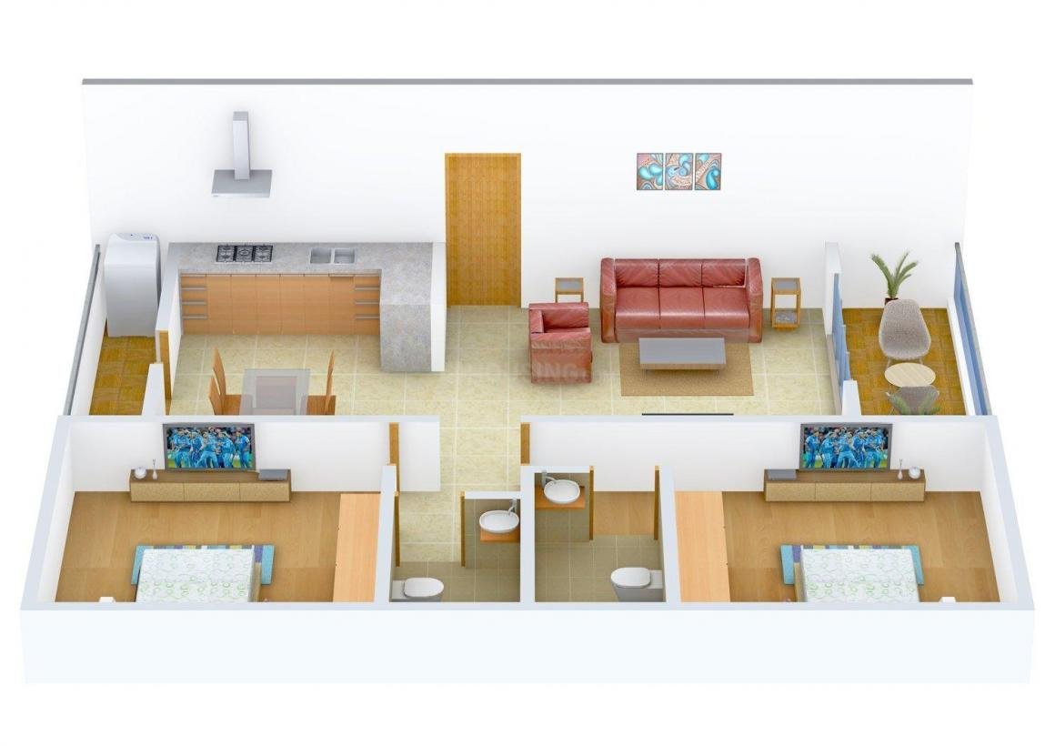 Floor Plan Image of 1200.0 - 1400.0 Sq.ft 2 BHK Apartment for buy in Janaki Shree Navshya Ganpati Apartment