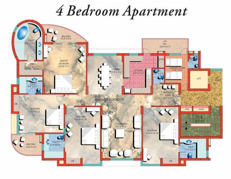Pearls Gateway Towers Floor Plan: 4 BHK Unit with Built up area of 3161 sq.ft 1