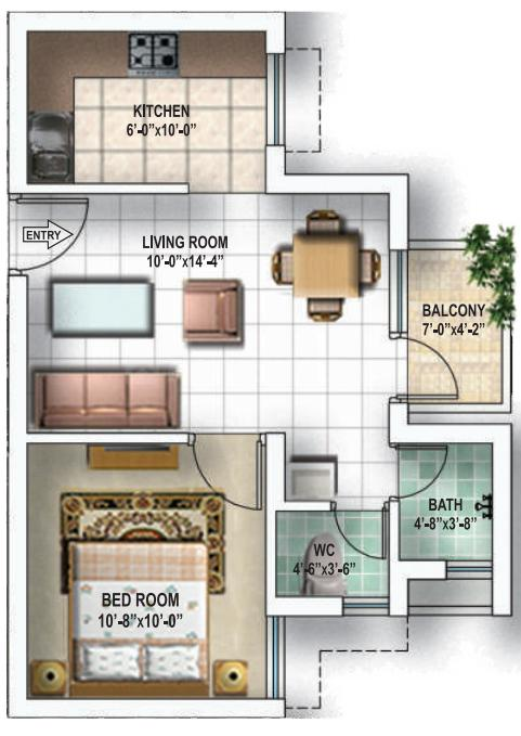 Omaxe Shubhangan Floor Plan: 1 BHK Unit with Built up area of 635 sq.ft 1