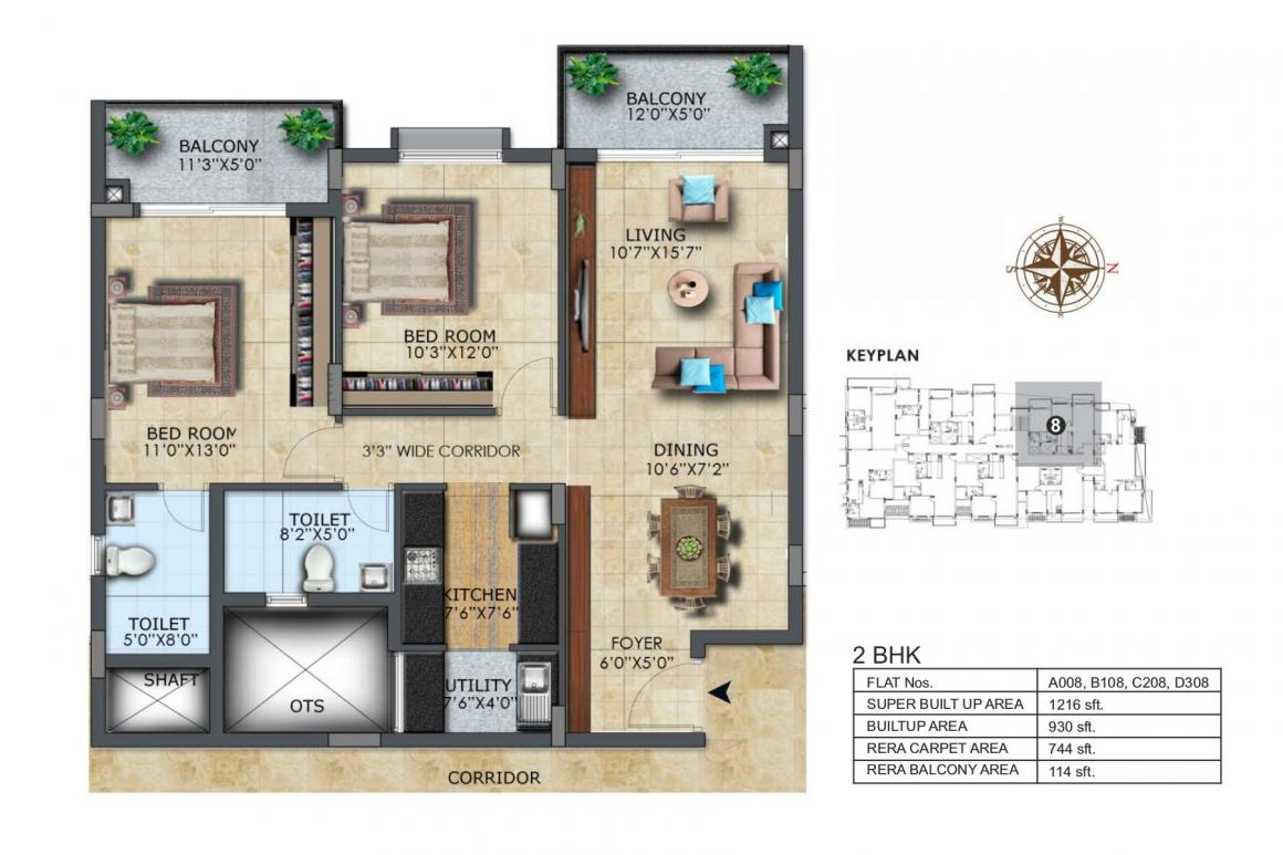LH Casa Flora Floor Plan: 2 BHK Unit with Built up area of 1216 sq.ft 1