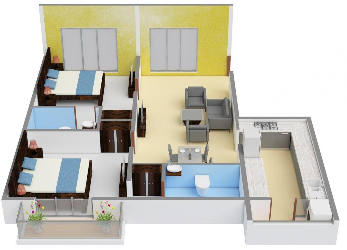Floor Plan Image of 0 - 1100.0 Sq.ft 2 BHK Apartment for buy in SR Gardenia