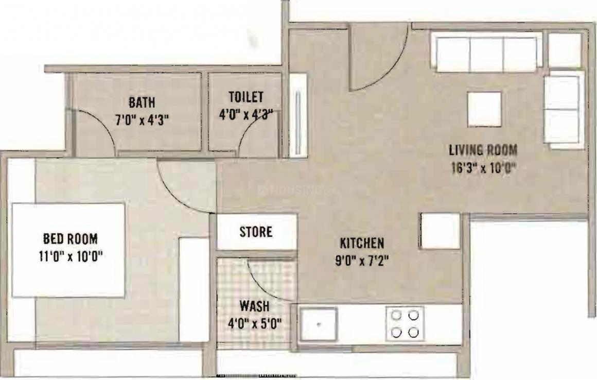 Aryanparv Pratham Residency Floor Plan: 1 BHK Unit with Built up area of 778 sq.ft 1
