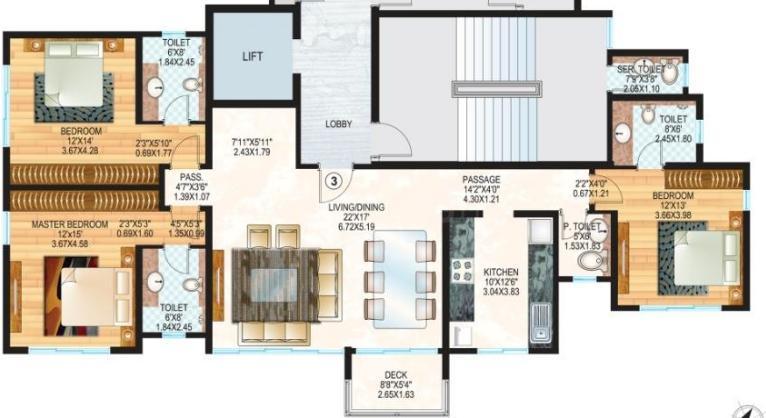 Sheth Vasant Oasis Lillium Bldg 16 Floor Plan: 3 BHK Unit with Built up area of 1445 sq.ft 1
