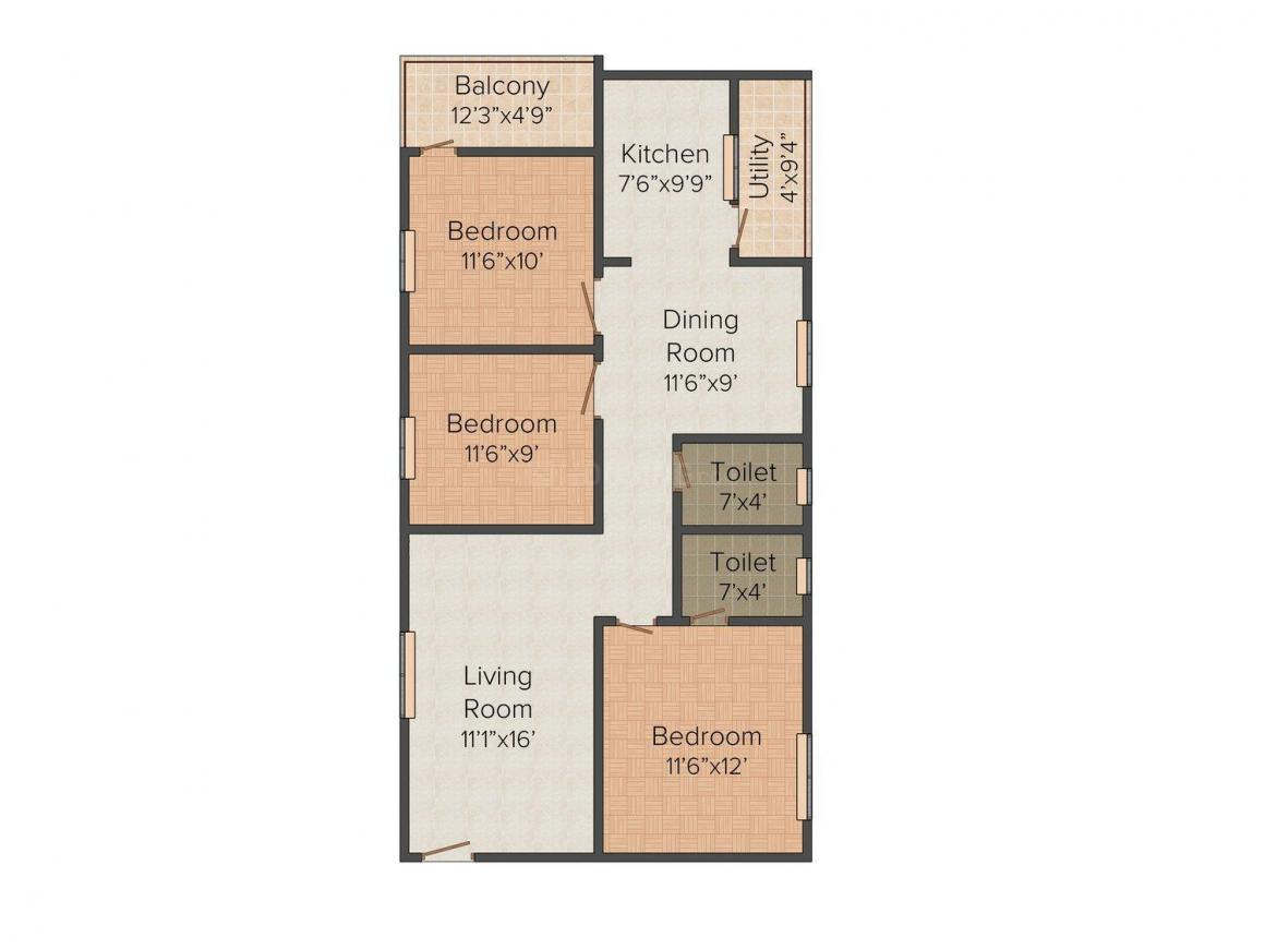 Floor Plan Image of 1265.0 - 1295.0 Sq.ft 3 BHK Apartment for buy in M J Metro View