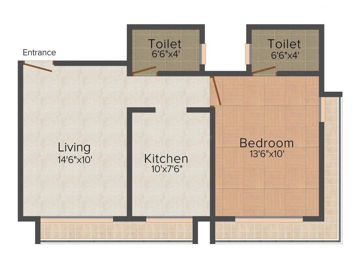 New Savita Sadan Floor Plan: 1 BHK Unit with Built up area of 438 sq.ft 1