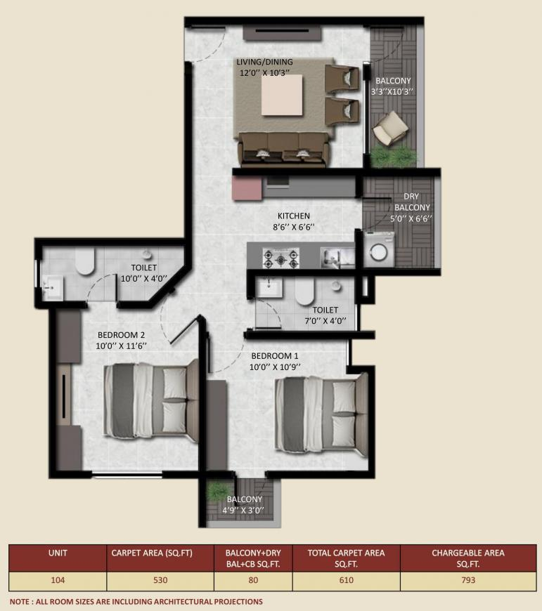 Ashwamedh Abhilasha Floor Plan: 2 BHK Unit with Built up area of 610 sq.ft 1